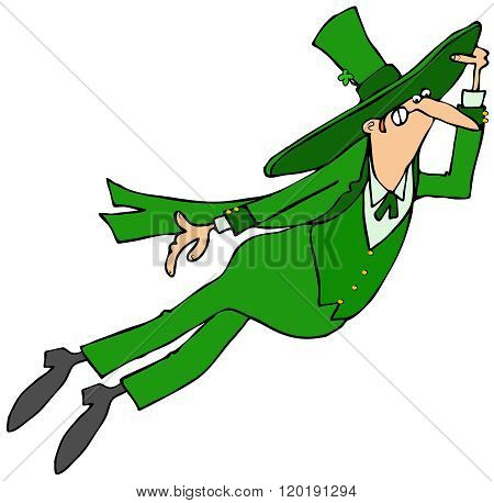 Leaping Irish leprechaun