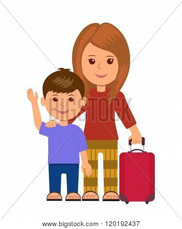 Mother and son with luggage bag. Concept infographics travelers. Isolated characters women and littl