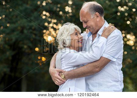 Embraced Senior Couple