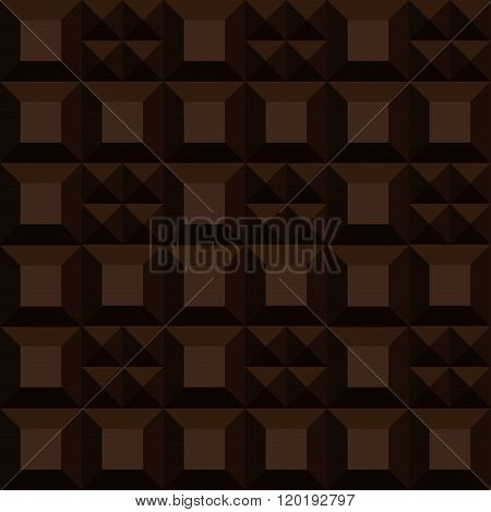 Vector Bar Of Chocolate. Seamless Background Dark Chocolate Pattern
