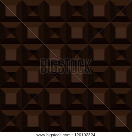 Seamless Background Chocolate Pattern. Vector Bar Of Dark Chocolate