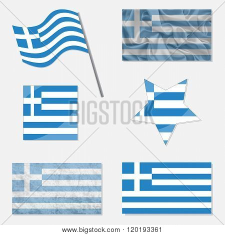 Set With Flags Of Greece