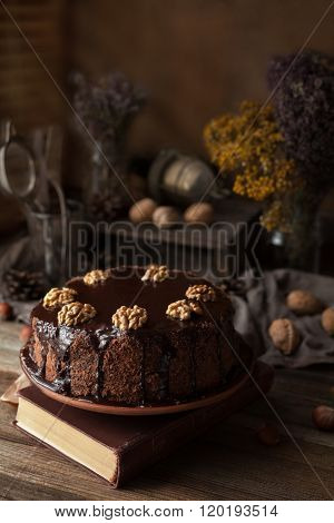 Chocolate cake dark food photo composition with book and walnuts