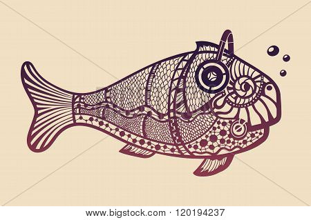 Fish with headphones