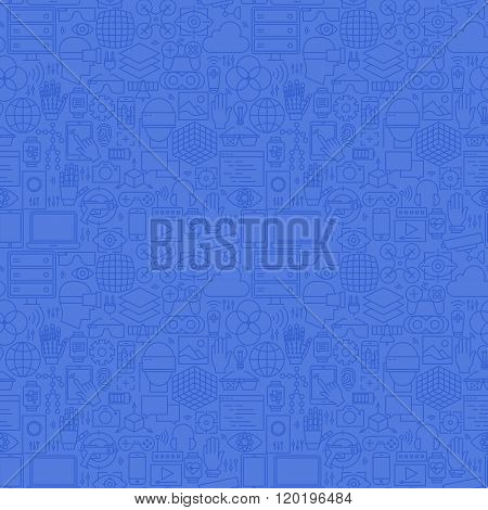 Blue Thin Line Virtual Reality Seamless Pattern
