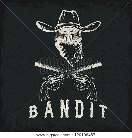 Grunge Bandit Skull With Revolvers . Concept Of Graphic Clipart Work