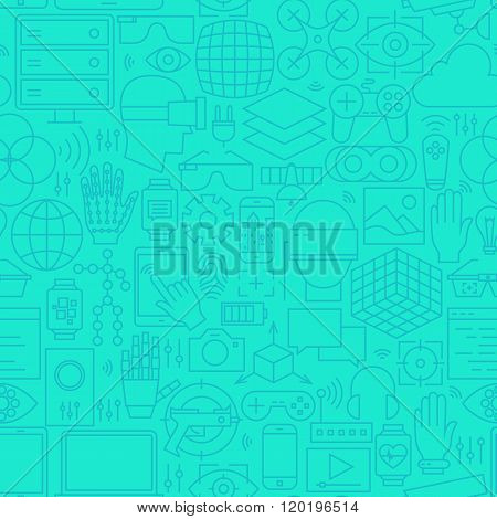 Thin Augmented Reality Line Seamless Mint Pattern