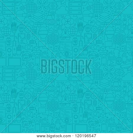 Thin Line Augmented Reality Mint Blue Seamless Pattern
