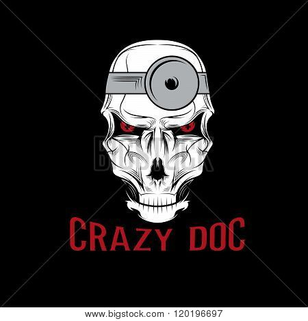 Crazy Doctor Skull . Concept Of Graphic Clipart Work