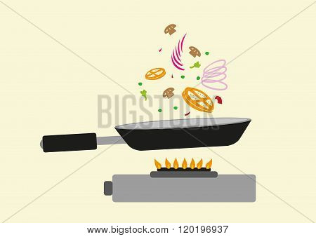 Cooking in Action. Editable Clip Art.