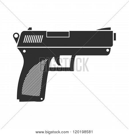 Vector illustration of a gun battle. Flat, black Icon firearm as a pistol.