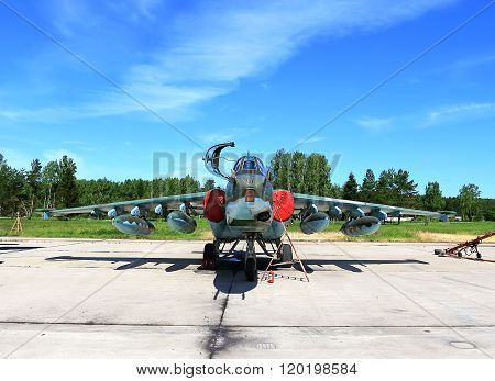 MOSCOW REGION  -   JUNE 13: Attack aircraft of the russian air force on the parking place at the air base  -  on June 13, 2015 in Moscow region