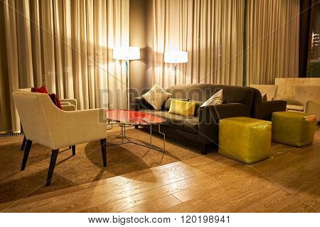 MOSCOW, RUSSIA - MARCH 29, 2015: interior of DoubleTree by Hilton. DoubleTree by Hilton is an American hotel chain and a part of Hilton Worldwide