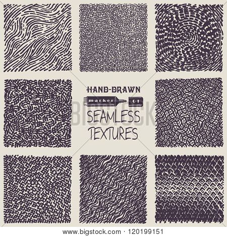 Set Of Hand Drawn Marker And Ink Seamless Patterns.