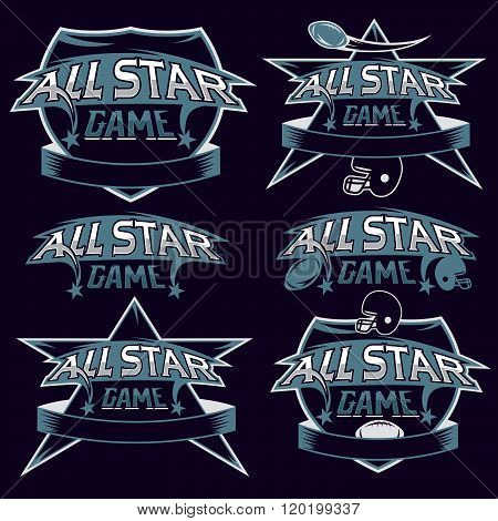 Set Of Vintage Sports All Star Crests With American Football Theme