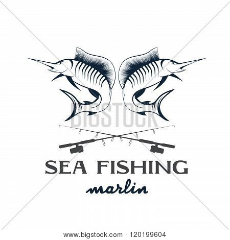 Vintage Illustration Sea Fishing With Marlin . Concept Of Graphic Clipart Work