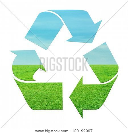 Three recycling arrows isolated on white, recycle concept