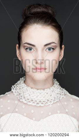 portrait of beautiful girl with clean face
