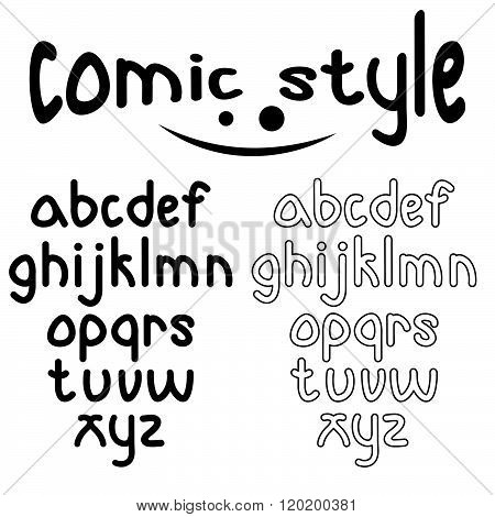 Lowercase Comic Style Alphabet . Concept Of Graphic Clipart Work