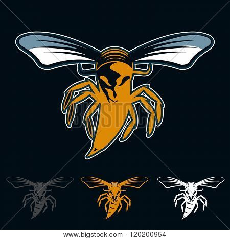 Aggressive Bee Or Wasp Mascot . Concept Of Graphic Clipart Work