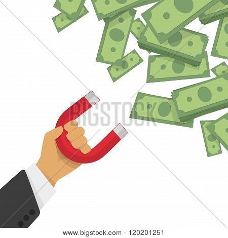 Money magnet vector illustration.