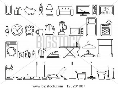 Set of Home and Lifestyle Tools and Objects in Outline Art Style. Editable Clip Art Icons.