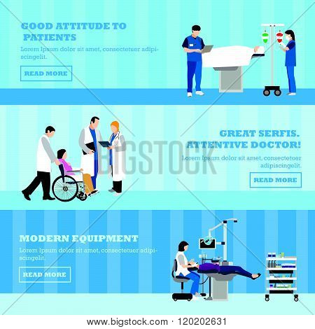 Horizontal vector banners with doctors and patients in hospital. Patients passing medical check up,