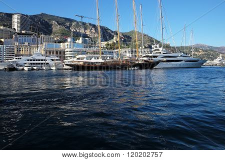 Sailing Ships In Marina Of Monte Carlo