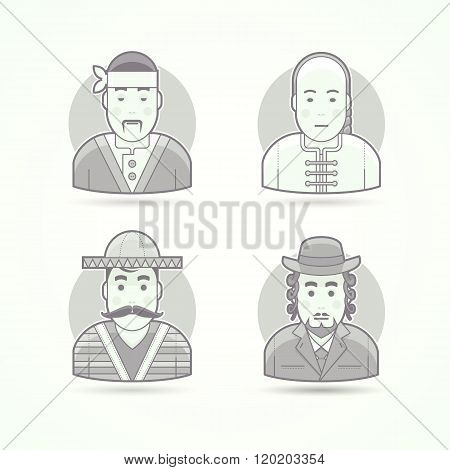 Japanese cook, Asian chief, Mexican citizen, Jewish orthodox man. Set of character, avatar and perso