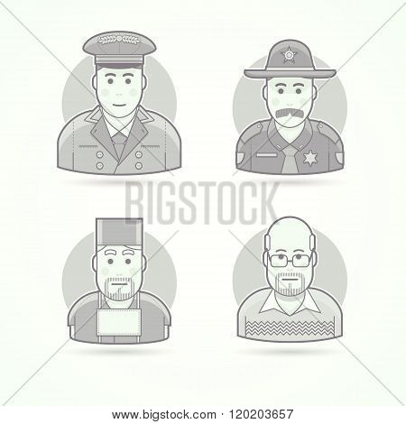 Hotel doorman, texas policeman, medical surgeon, school teacher. Set of character, avatar and person