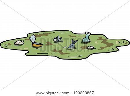 Cartoon Polluted Pond