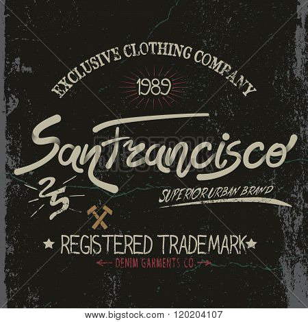 Vintage trademark with San Francisco City text