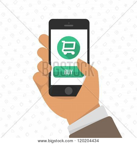 Shopping via mobile phone.