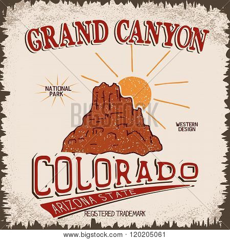 Vintage label with canyon and sun