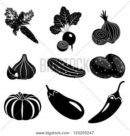 Set of vegetables icons in black color