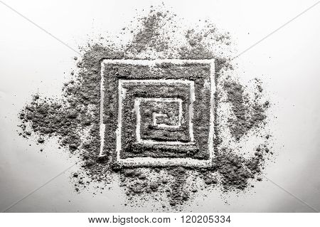 Spiral Rectangular Shape Drawing Made In Ash