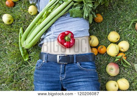 Woman With A Pepper On Her Belly