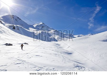 Skier Making Turns In A Sunny Day