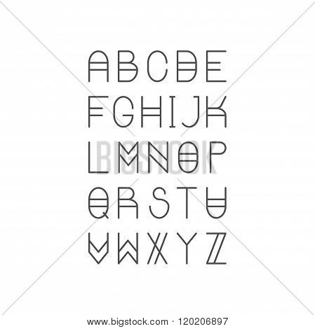 Trendy Thin Line Font. Golden Proportion Serif Typeface. Latin A