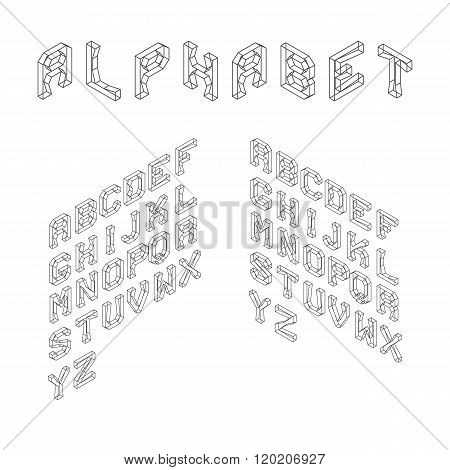 Isometric Latin Alphabet. Wireframe Letters. 3D Geometric Font.