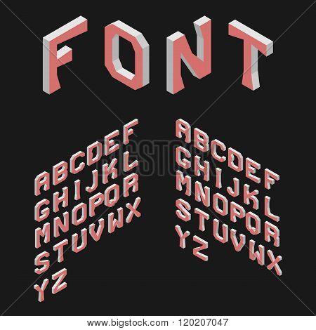 Isometric Latin Alphabet. 3D Geometric Font. Three Dimensional T