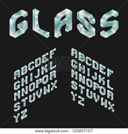 Glass Isometric Latin Alphabet. 3D Geometric Font. Three Dimensi
