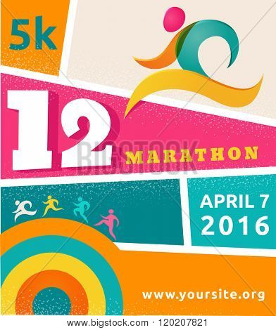 Running marathon, people run, colorful poster
