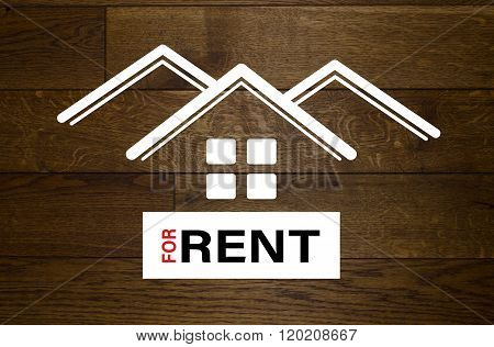 For rent advertisement with white houses