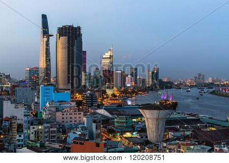 HO CHI MINH CITY, VIETNAM - CIRCA JAN, 2016: Top view of Saigon at night time. Ho Chi Minh, former Saigon, is located in the South of Vietnam, is the country's largest city, population 8 million.