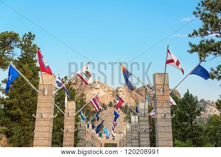 State Flags And Mount Rushmore