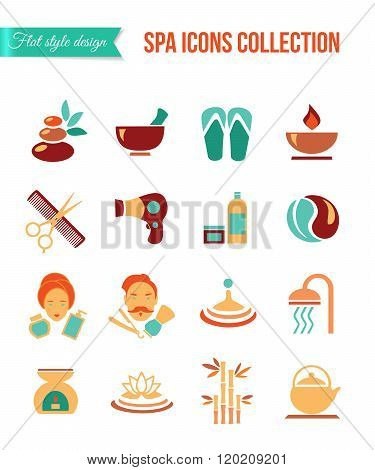 Spa treatments for men and women. Set of spa and beauty flat icons. Healthcare salon, haircut, skin