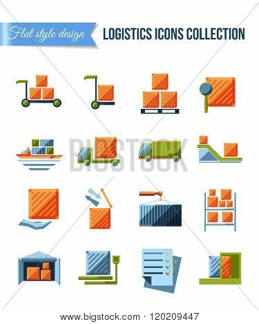 Set of delivery and logistics systems flat icons with shipment, warehouse, weighting, false document