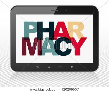 Health concept: Tablet Pc Computer with Pharmacy on  display