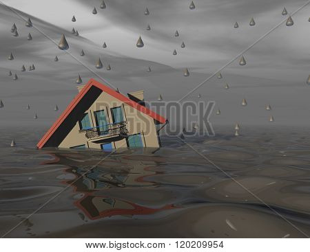 Heavy Rain And Flood Concept With House Under Water.